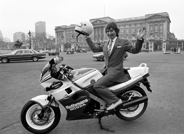 The late Joey Dunlop, pictured here with his Honda VFR 750F bike outside Buckingham Palace