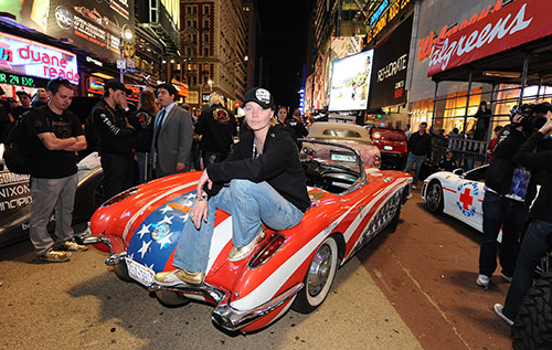 Jodie Kidd seen here with her car that took part in the Gumball 3000 rally