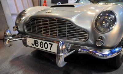 Licensed to take part: This Aston Martin DB5 starred in Goldfinger and Thunderball