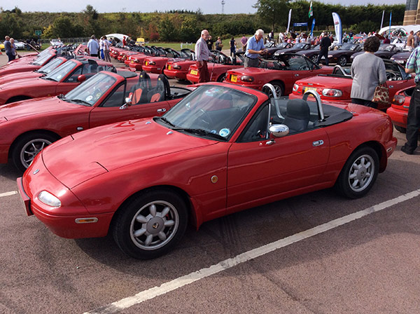 Red Mazda MX-5 on display
