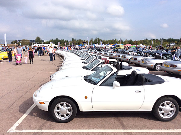 Collections of white Mazda MX-5 on display