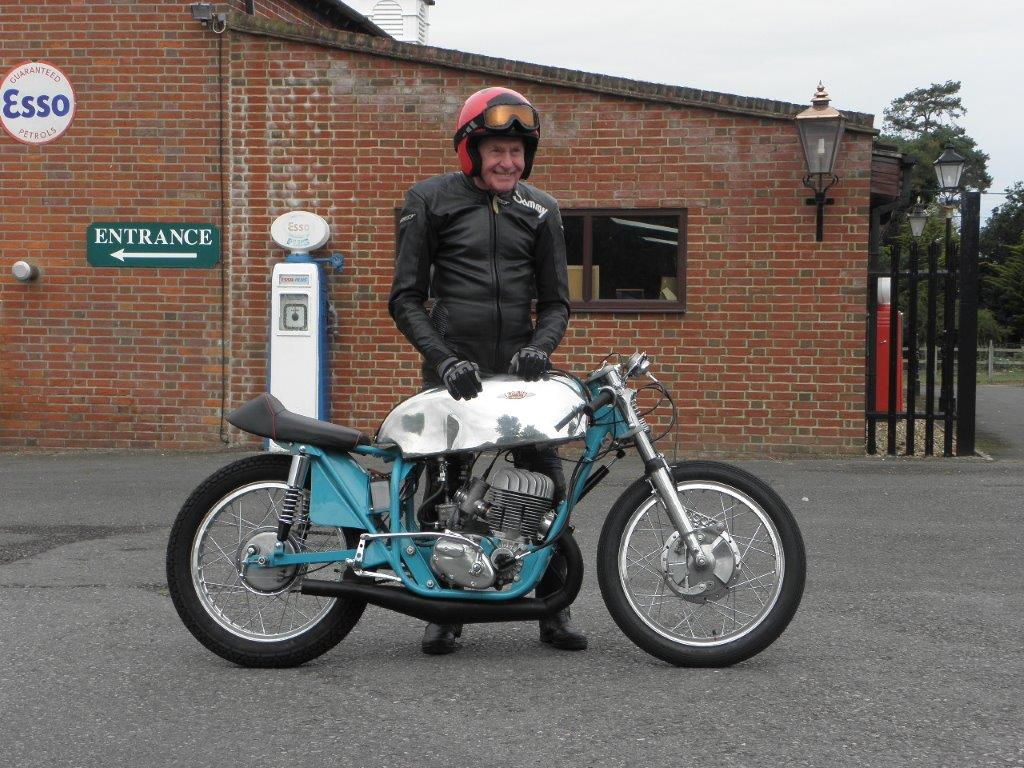 Sammy Miller with his restored DMW Hornet