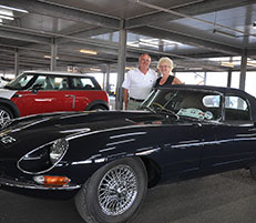 Jaguar Enthusiasts' Club members Keith Walker and Gill Ball are pictured with their 1968 E-type Series 1 ½ at Southampton.