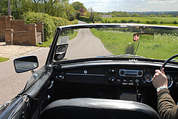 MGB GT, roof down, sun shining