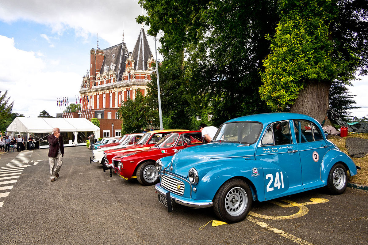 Lineup of classic cars outside the Chateau