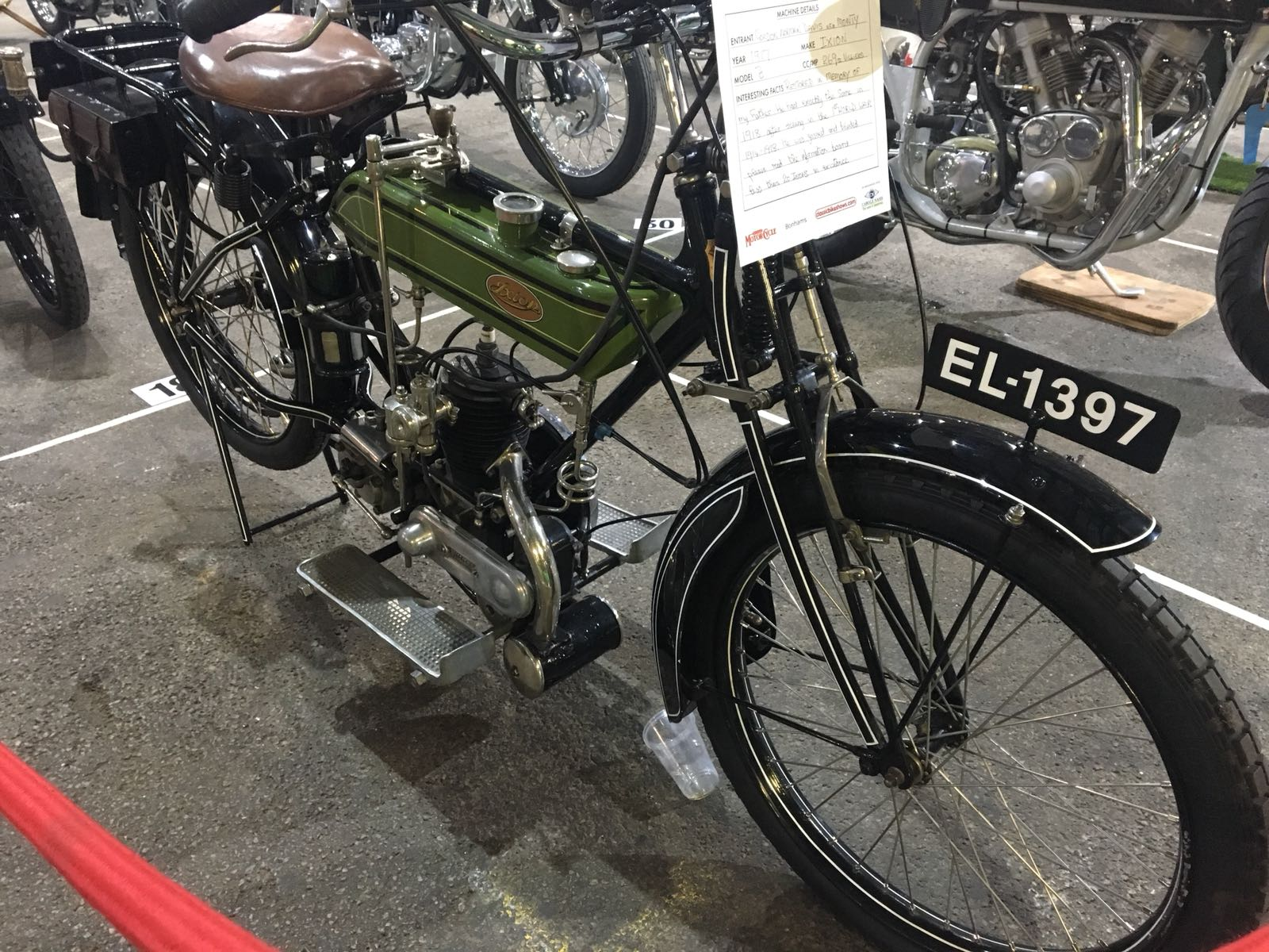 1917 Ixion B 269cc built in memory of a father who used the same bike in 1918 after WWI