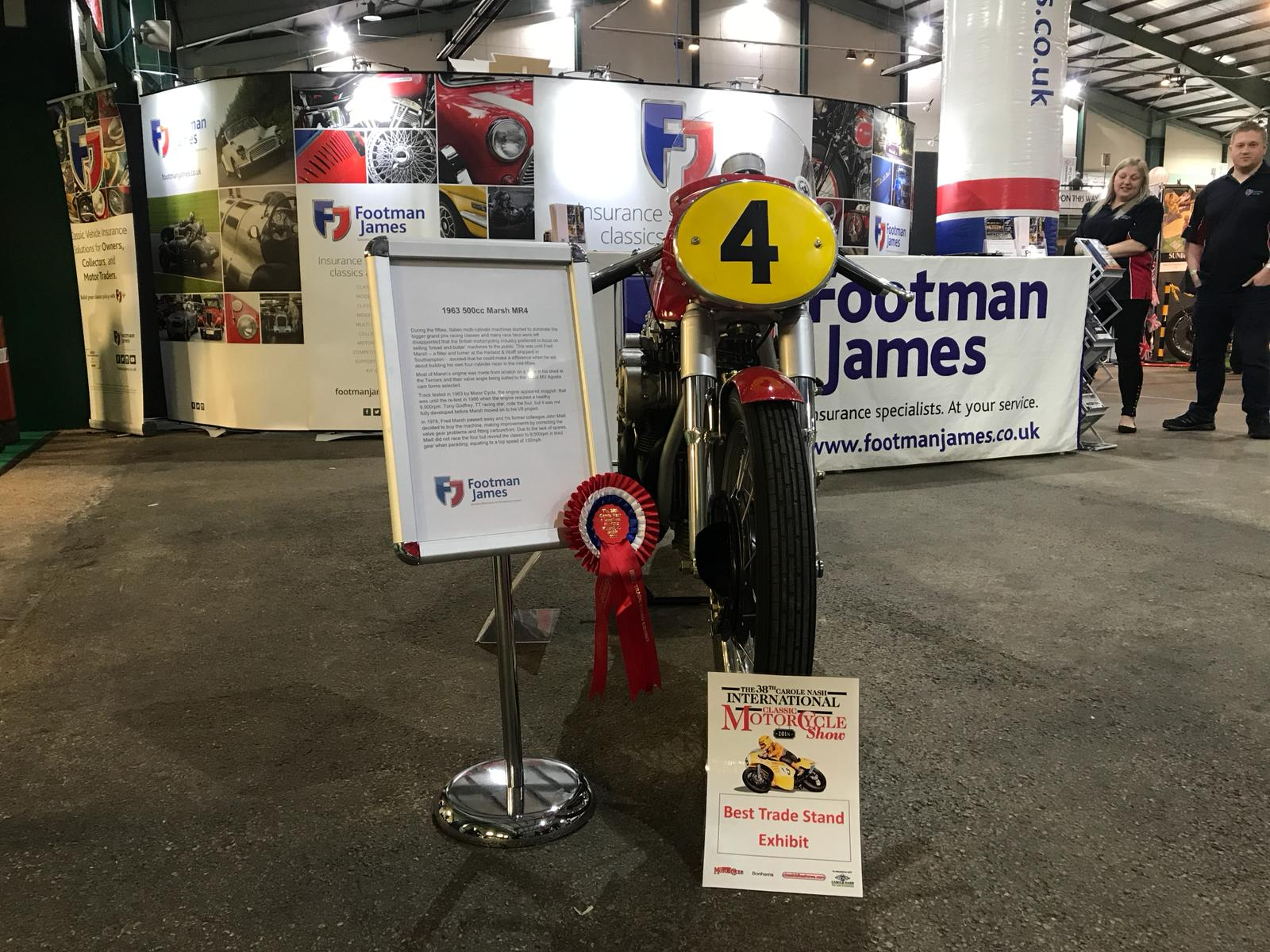 Our 1963 500cc Marsh MR4 on loan from The National Motorcycle Museum won Best Trade Stand Exhibit