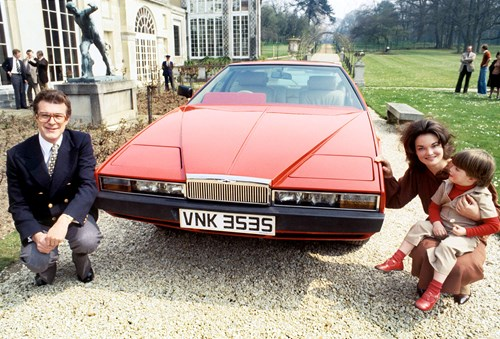 The Marquess and Marchioness of Tavistock with their Aston Martin Lagonda