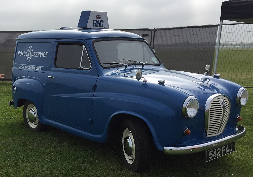RAC' first Austin A35 parked on grass