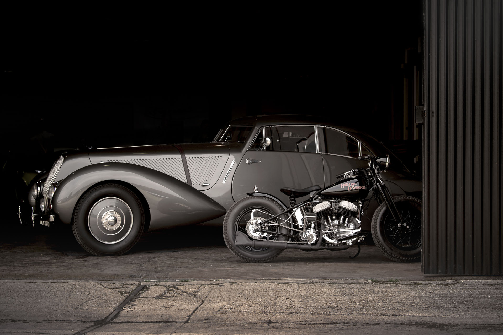 Classic car and Harley Davidson