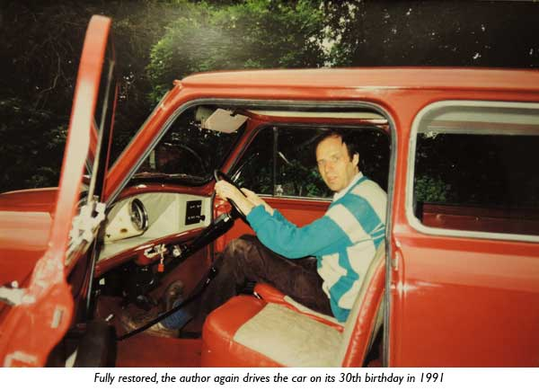 Fully restored, the author again drives the car on its 30th birthday in 1991