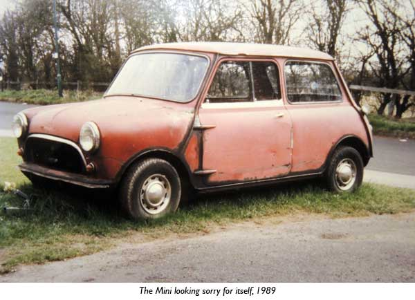 The Mini looking sorry for itself, 1989