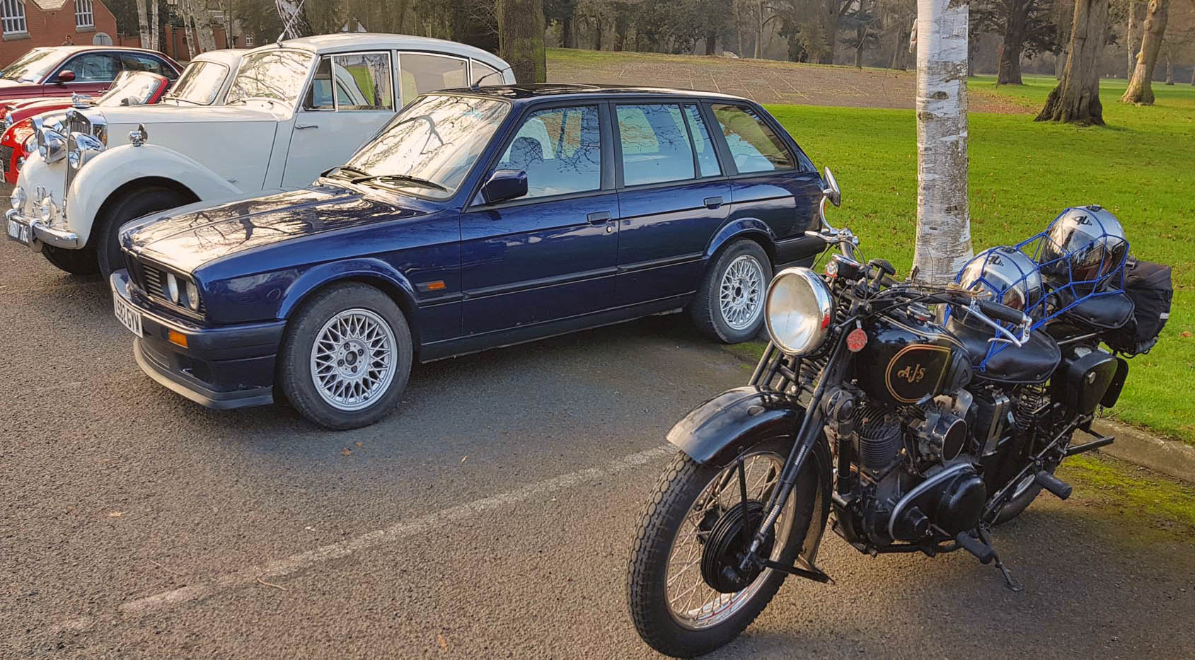 1993 BMW Touring Lux and AJS Classic Bike.jpg