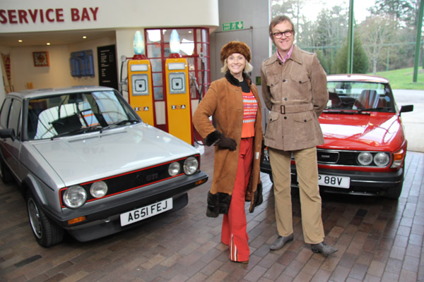 Vicki & Alex with cars from episode 6 of The Car Years