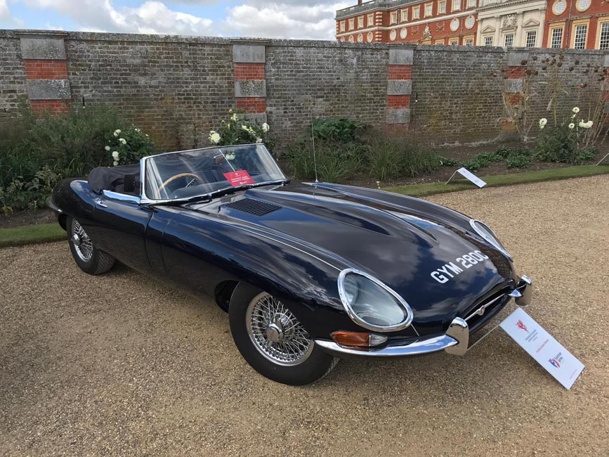 Blue Jaguar E-Type side profile