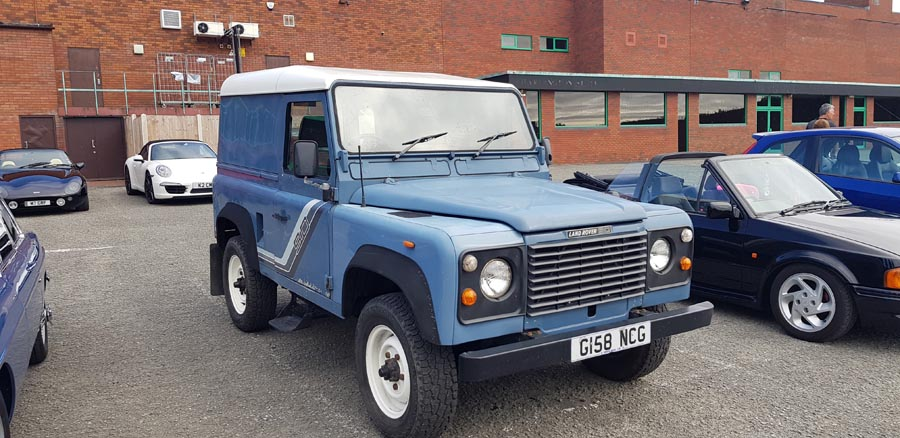 Blue Land Rover Defender 90